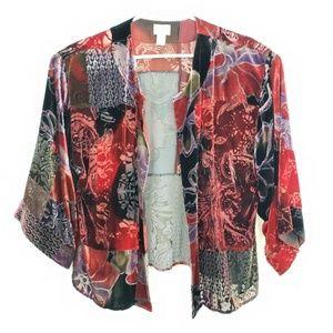 Chicos Velvet Burnout Floral Cardigan Jacket